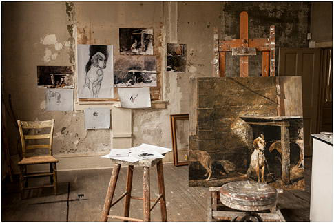 Wyeth's studio arranged as it was left before he passed away