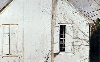 OPEN SHUTTER, STUDY FOR MY STUDIO, 1974 watercolor (c) Andrew Wyeth